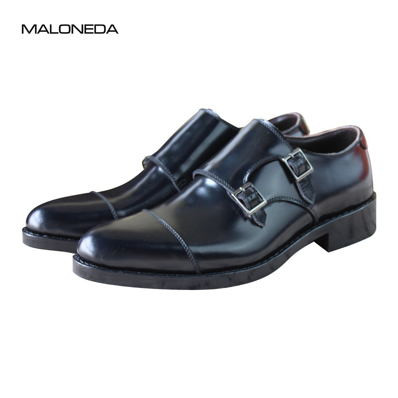 MALONEDA Brand Men's Patent Leather Shoes Custom Made Goodyear Welted Double Monk Straps Shoes Slip On Dress Shoes