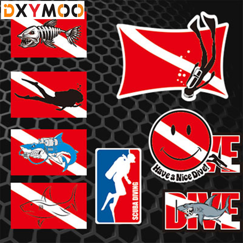 все цены на Water Sports Diving Car Stickers Shark Scuba Dive Fish Tank Decals Car Styling 3M Reflective