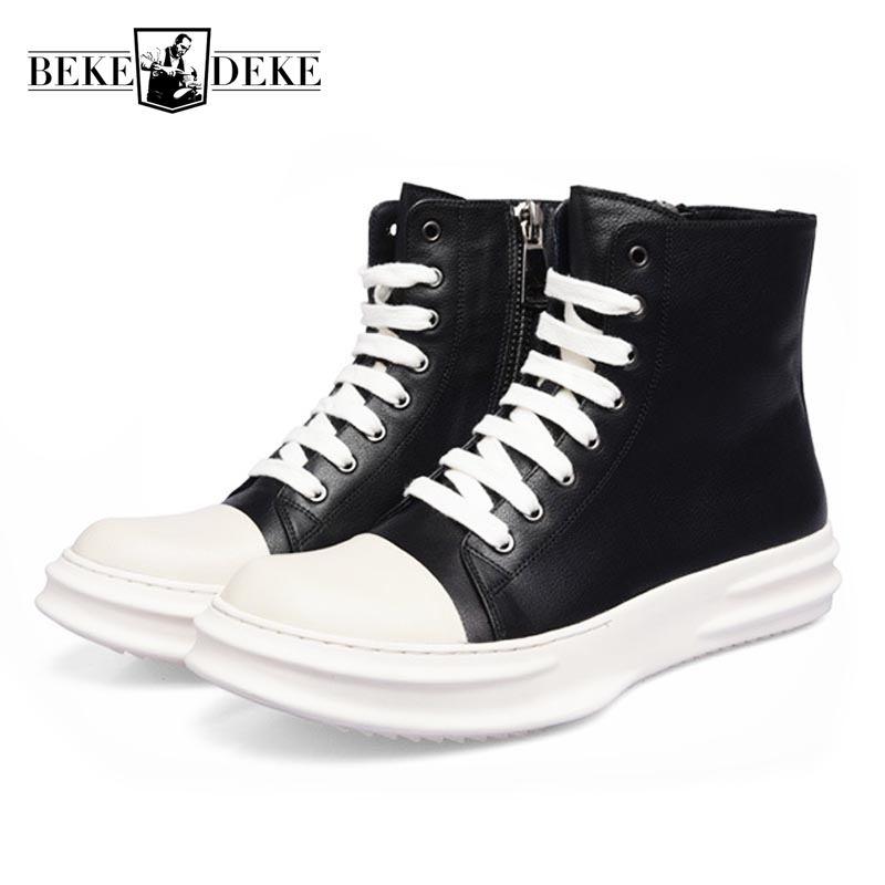 Autumn New Fashion Mens Round Toe Side Zipper Lace Up Ankle Boots Male Footwear Genuine Leather High Help Top Quality Brand Shoe pointed toe lace up mens dress shoes male footwear autumn new fashion genuine leather british retro plus size top quality brand