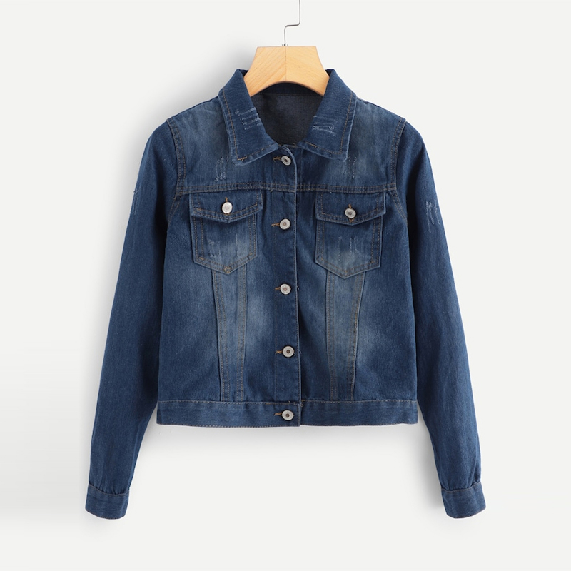 Denim Button Front Pocket Detail Jacket For Women