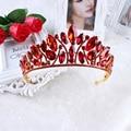 Hot European design royal crown queen crown red  ornaments crown high-end fashion bridal headdress crown beautiful woman