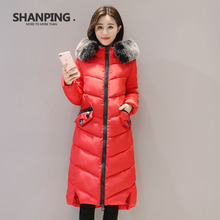 SHANPING  2017 Winter  Fur Collar New Women's Jacket Fashion Parka Girls Padded Slim Women Coat