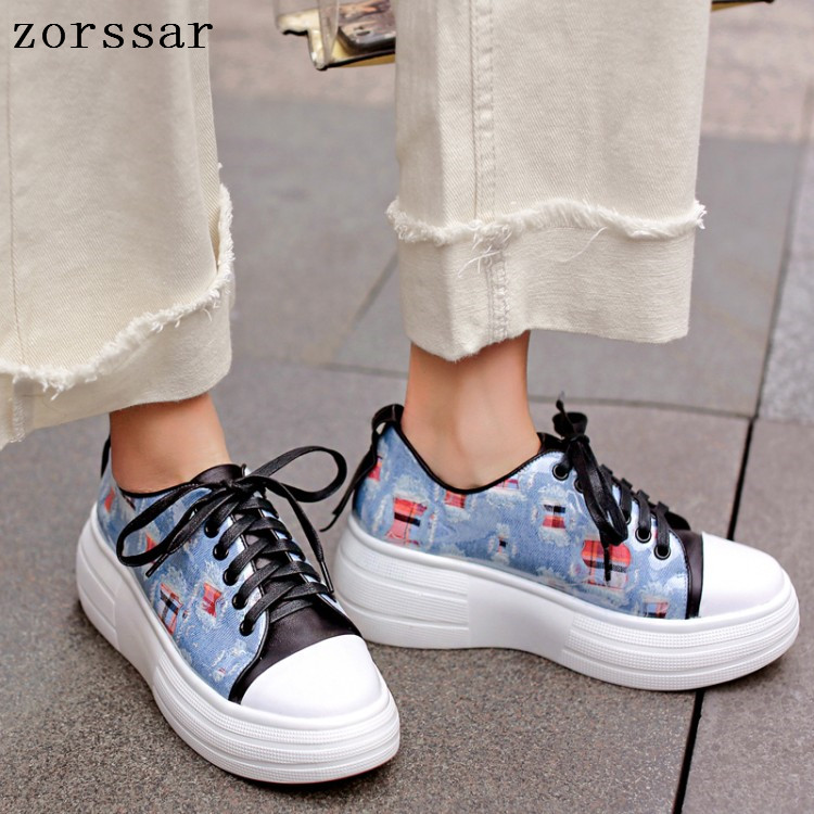 2019 Spring women flats   leather     suede   platform sneakers women shoes ladies casual lace up flats creepers moccasins size 34-42