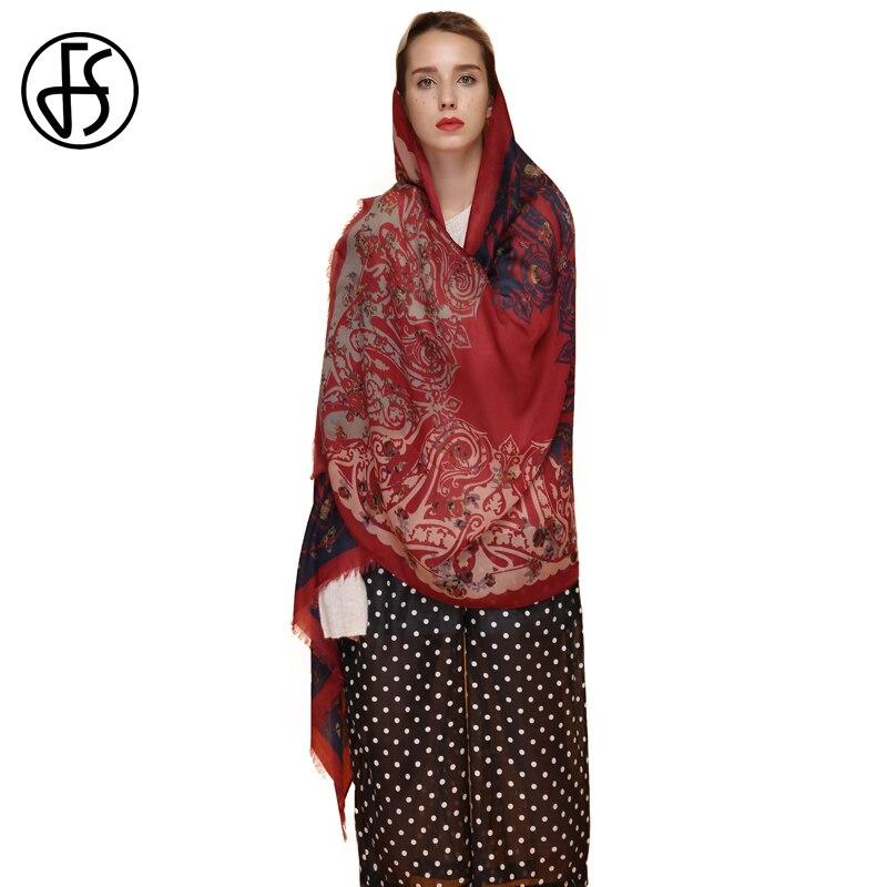 FS Bandana Silk Satin Cotton Scarf Women Echarpe Femme Print Scarves Stoles Retro Ethnic Style Shawls Pashmina For Ladies Wraps