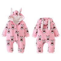 winter baby boys girls Fleece rompers cotton warm cartoon rabbit print Hooded Jumpsuit Newborn clothing spring jumpsuit 0 18M