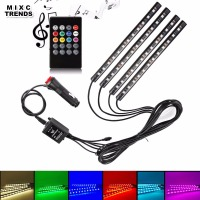 MIXCTRENDS Wireless Music Remote Voice Control Car RGB LED Strip Neon Interior Light Decorative Atmosphere Lights