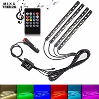 MIXC TRENDS 4x12 LED Wireless Music Remote Voice Control Car RGB LED Strip Neon Interior Light