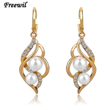 Fashion Double Pearl Earrings For Women Real Gold Siver Plated Crystal Jewelry Vintage Wedding Drop 4 Colors SER140229