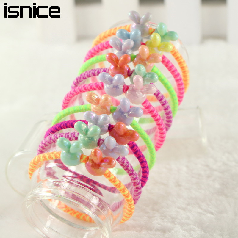 isnice 30pcs/lot Colorful Plastic Elastics children's Kids cs