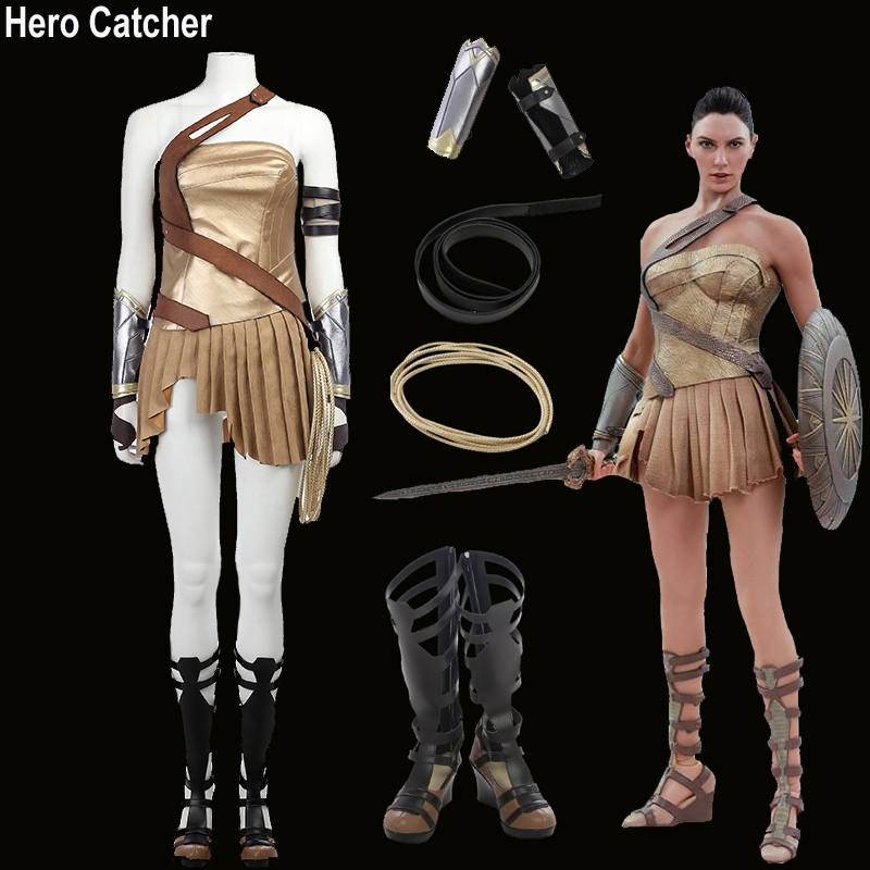 Hero Catcher High Quality Wonder Woman Costume Paradise Island Cosplay Costume Set 2017 Movie Wonder Woman Suit