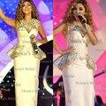 2014 blanco Vintage Vestidos Myriam Fares corsé Vestidos de noche Peplum Vestidos piedras Celebrity