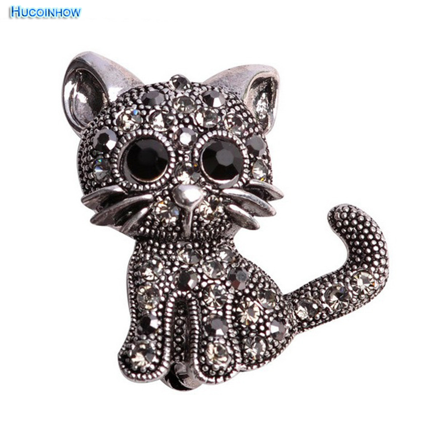 Cute Little Cat Brooches Pin Up Jewelry For Women Suit Hats Clips Corsages Brand Bijoux Brooch Bijouterie Small Gifts