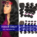 7a Peruvian Virgin Hair With Closure 3 or 4 Bundles Pervian Human Hair Weave Rosa Hair Products Peruvian Body Wave With Closure