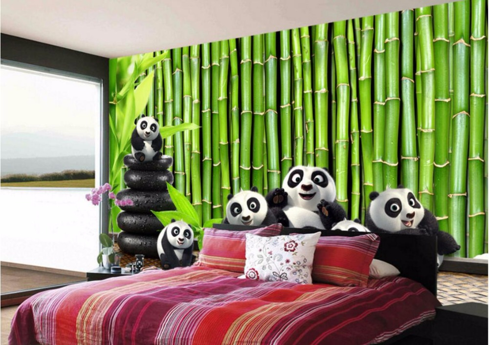 цена на Custom mural 3d room wallpaper Landscape Green bamboo lovely panda wall papers home decor 3d wall murals wallpaper for walls 3 d