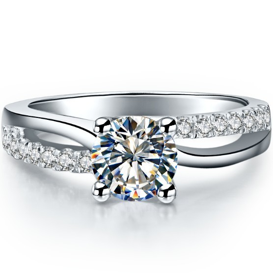 classic jewelry 06ct round cut lab created synthetic diamonds ring engagement pure 925 sterling - Wedding Rings Prices