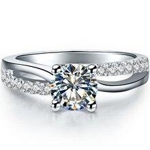 Классические ювелирные изделия 0.6Ct круглой огранки Lab-Created синтетические бриллианты кольцо обручальное чистое серебро 925 пробы роскошный цвет хороший подарок