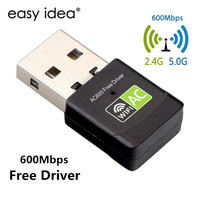 Gratis Driver Draadloze USB Wifi Adapter 600 Mbps Lan USB Ethernet 2.4G 5G Dual Band Wifi Netwerkkaart wifi Dongle 802.11n/g/a/ac