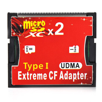 Dual Port Slot TF Micro SD SDHC to Extreme Type I Compact Flash CF Memory Card Reader Adapter Converter