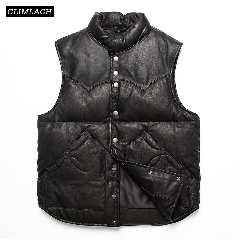 Fashion Winter Warm Classic High Quality Slim Real Leather Sheepskin Vest Genuine Leather White Duck Down Jacket Mens Vest CoatsGenuine Leather Coats   -