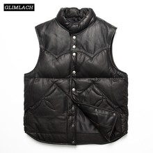 Fashion Winter Warm Classic High Quality Slim Real Leather Sheepskin Vest Genuine Leather White Duck Down Jacket Mens Vest Coats