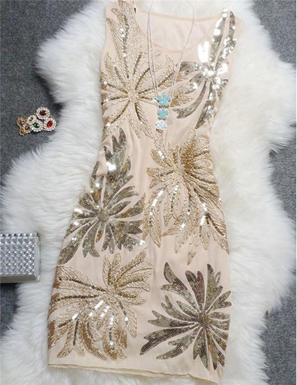 Элегантные винтажные сексуальные платья с блестками размера плюс, цветочный женский топ, черные, синие, Красные Короткие Дешевые коктейльные платья, коктейльные платья - Цвет: beige
