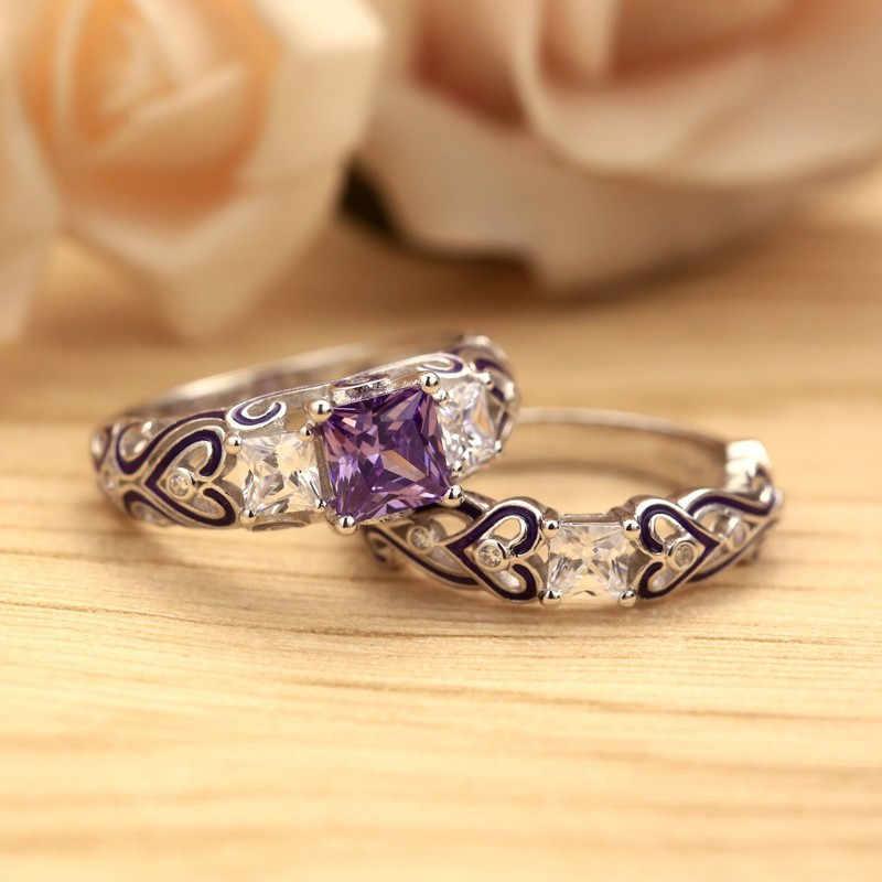 WalerV Luxus Hochzeit Ringe Paar Rot Engagement Band Ring Sets Für Frauen Zirkonia Kristall Schmuck Für Immer Liebe Grün Zirkon Ring