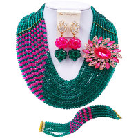 ACZUV Army Green Hot Pink African Beads Nigeria Wedding Jewelry Sets 10C JZ003