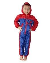 3-7 years boy's Red Long sleeve 2 suit & cap Sportswear children Dust coat,boy spiderman Dust coat