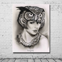 Gothic Style Girl Portrait Oil Painting Canvas Art Hand Made Gothic Canvas Pictures For Bed Room Wall