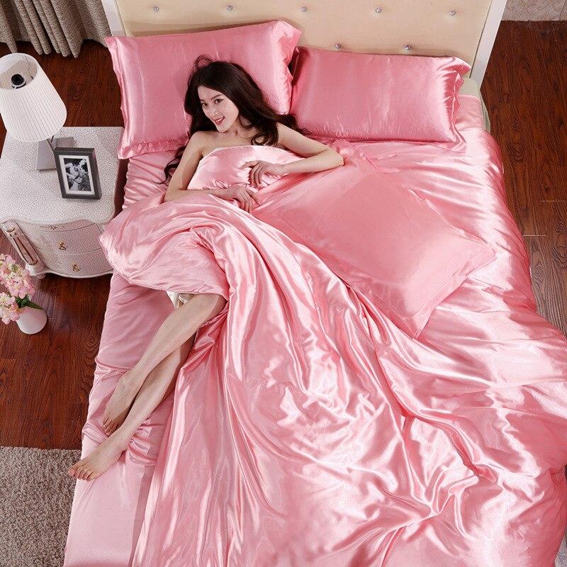 Image 5 - LOVINSUNSHINE Luxury Bed Sheet US King Size Silk Duvet Cover Set Satin Silk Bedding Sets AX06#-in Bedding Sets from Home & Garden
