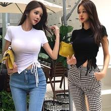 Nueva llegada casual vintage tees moda slim estilo de trabajo básico elegante cómodo casual suave inflable o-cuello asimétrico camisetas