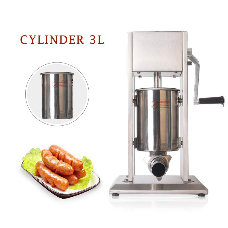 GZZT 3L Manual Sausage Machine Stainless Steel Vertical Sausage Stuffer Sausage Filler Maker For Household Or Commerical
