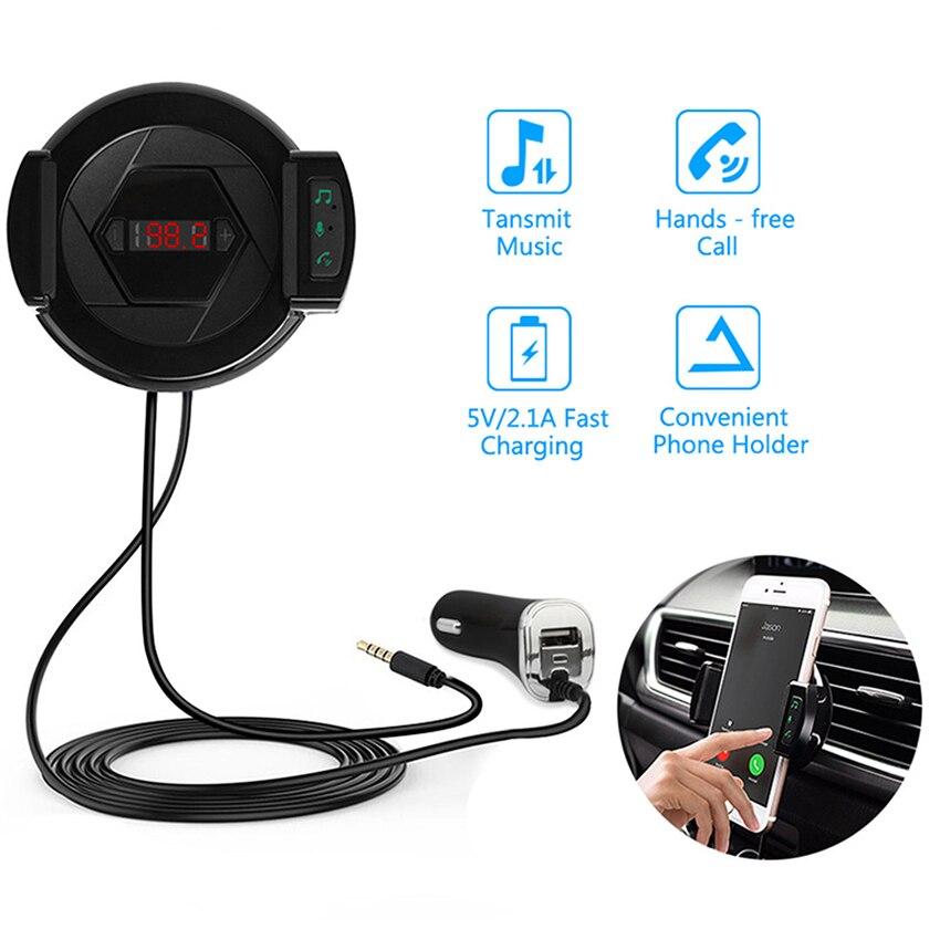 ENKLOV Car Bluetooth Handsfree Kit Car Charger  Mobile Phone Stand 3 in 1 Multi Purpose USB FM Transmitter Car Bluetooth