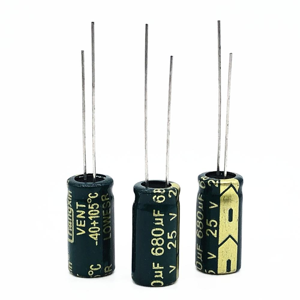 12pcs 25V 680UF 8*16 High-frequency Low-impedance High Frequency Low Impedance Aluminum Electrolytic Capacitor 680uf 25v 20%