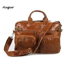 Vintage Genuine Leather Briefcase For Men Laptop Bag Cowhide Men's Briefcase Business Travel Bags Maletin Portatil 7026