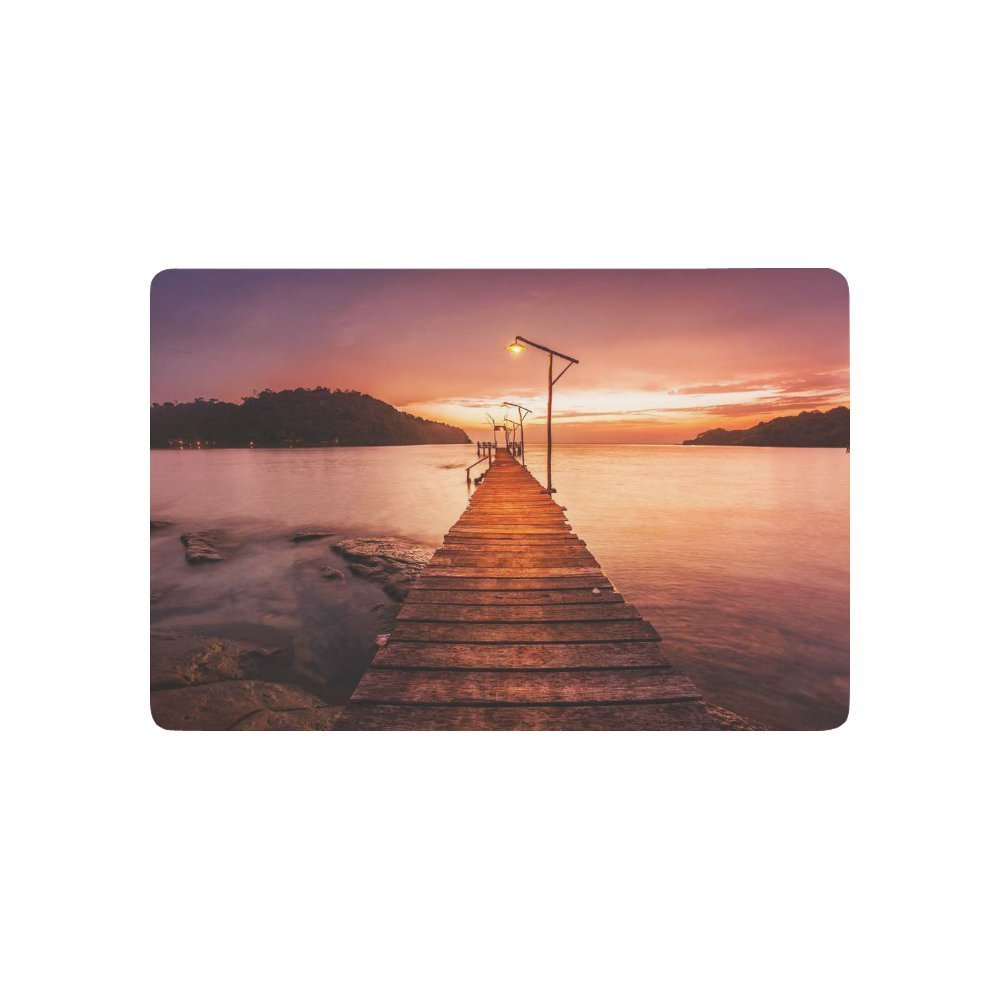 Pier on the Foreground Anti-slip Door Mat Home Decor, Sunset over the Sea Indoor Outdoor Entrance Doormat Rubber Backing