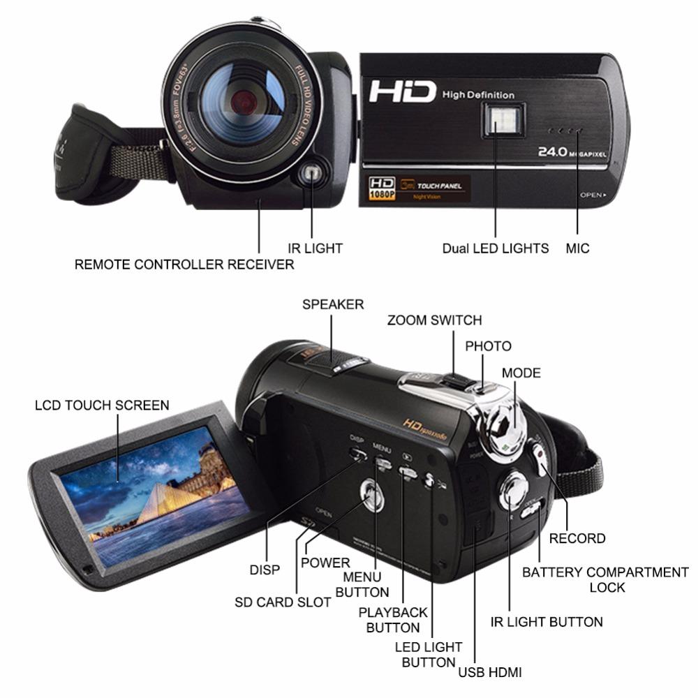 Marvie LED Fill Lights Portable 24.0 MP 3.0 Screen DV Camera FHD Camcorder Digital Video Recorder 16X Zoom IRNight Vision Cam 8