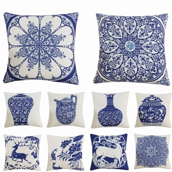 High Quality Cotton Linen Pillow Cover Chinese Style Decorative Pillows Retro Blue And White Porcelain Florals Pattern Cushion