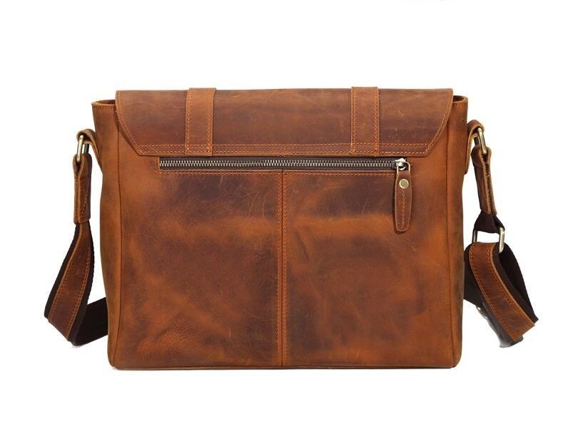 Men's Bags genuine leather handbags Vintage handbag men briefcases natural cow leather shoulder bag Male business messenger bag