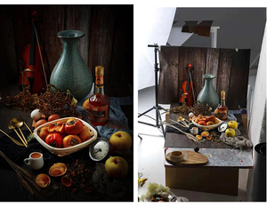 Image 2 - INS Style 3D Printing 58x86cm Photo Backdrop Double Sides Wood Marble Cement Wall Photography Background For Food Camera Photo