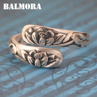 BALMORA Solid 990 Pure Silver Lotus Flower Rings For Women Gift Vintage Clover Engraving Silver Ring