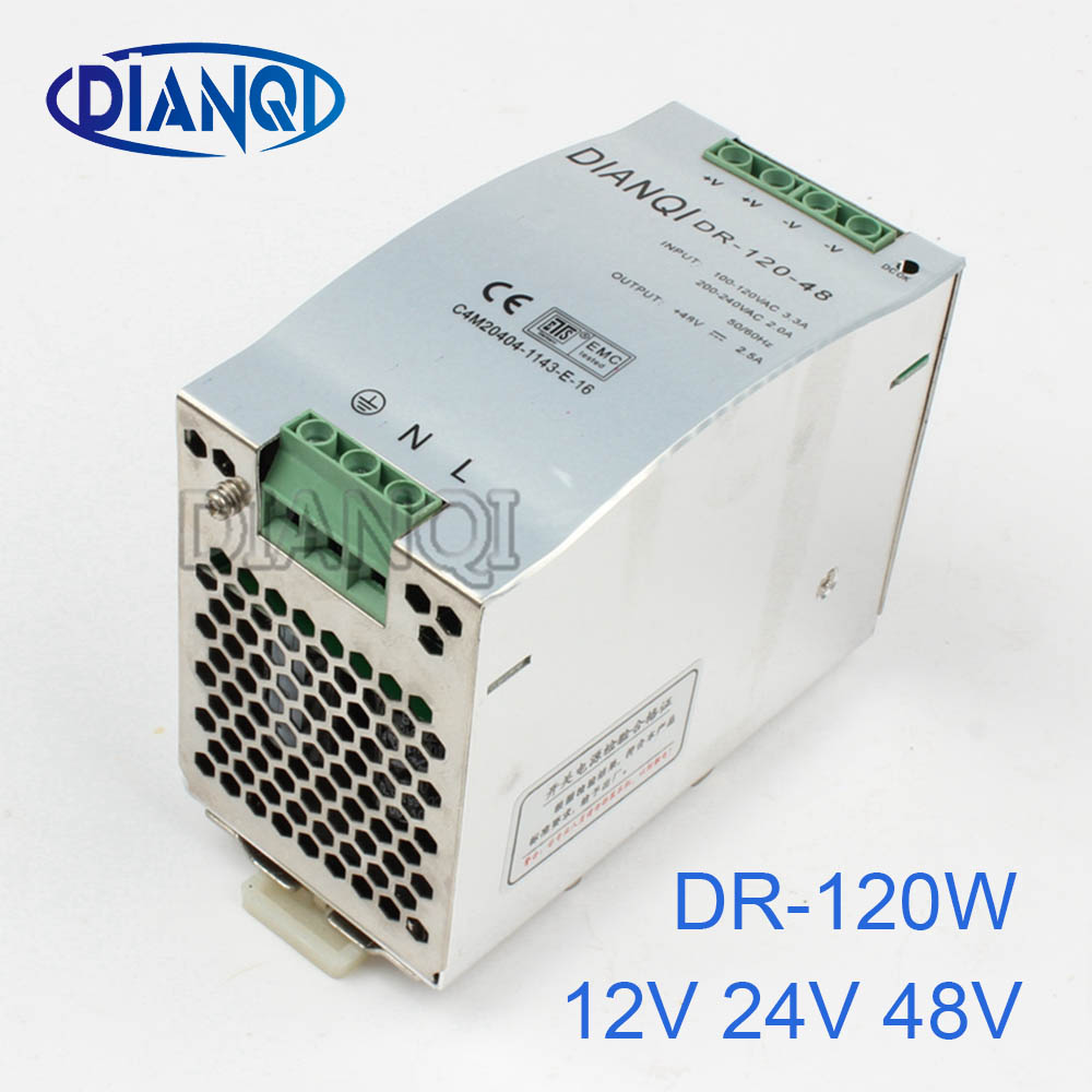 DIANQI 48V Din rail Single output Switching power supply 120w 12V  suply 24v ac dc converter for LED Strip other dr-120 DR-120 1200w 12v 100a adjustable 220v input single output switching power supply for led strip light ac to dc