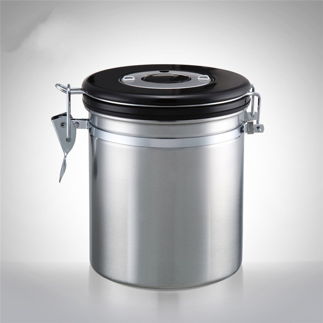 Coffee Powder Dry Fruits Tea Beans Stainless Steel Canister Sealed Jar With Exhaust Valve