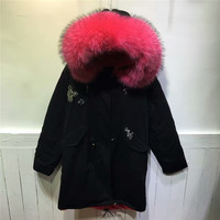 Snack Beading Peach Pink real raccoon fur collar parka women winter coat faux fur inside hooded long jacket