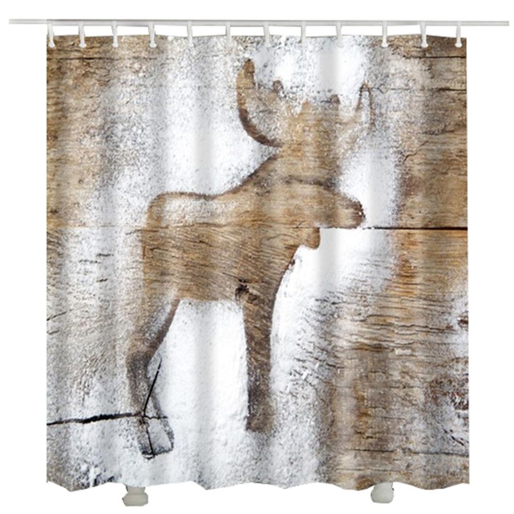 Wood Elk Shower Curtain Rideau Douche Douchegordijn Waterproof 3d Bathroom Curtains
