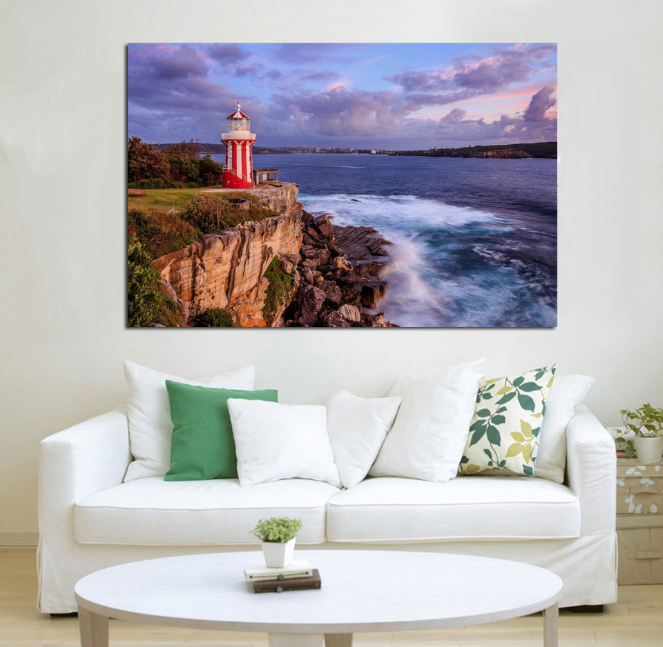 Wall Prints For Living Room Australia Us 11 98 Scenery Australia Sea Lighthouses Coast Sydney Hornby Nature Kd435 Living Room Home Wall Art Decor Wood Frame Fabric Posters In Painting