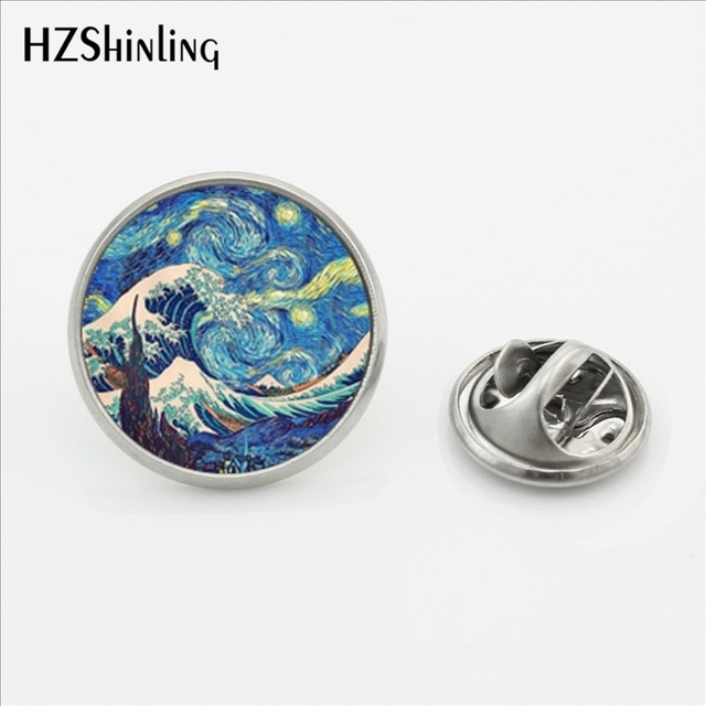 2017 New Arrival The Great Wave Lapel Pins Handmade Round Glass Dome Wave Painti