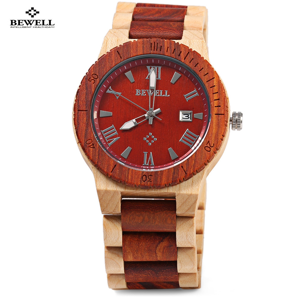 Подробнее о Luxury Bewell Elegant Men Wood Quartz Watch Fashion Male Wristwatch Luminous Pointer Calendar Wooden Relogio Masculino Best Gift japan style men s watch natural wooden wristwatch wood quartz watch box nice gifts for men relogio masculino 2016 luxury brand
