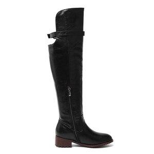 Image 3 - MORAZORA 2020 מכירה לוהטת מעל הברך מגפי נשים pu רטרו zip סתיו חורף מגפי נמוך עקבים נעליים יומיומיות אישה ירך גבוהה מגפיים