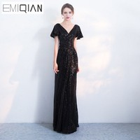 NEW Designer Cap Sleeve Black Red Champagne Long Formal Evening Dresses Mermaid Robe De Soiree